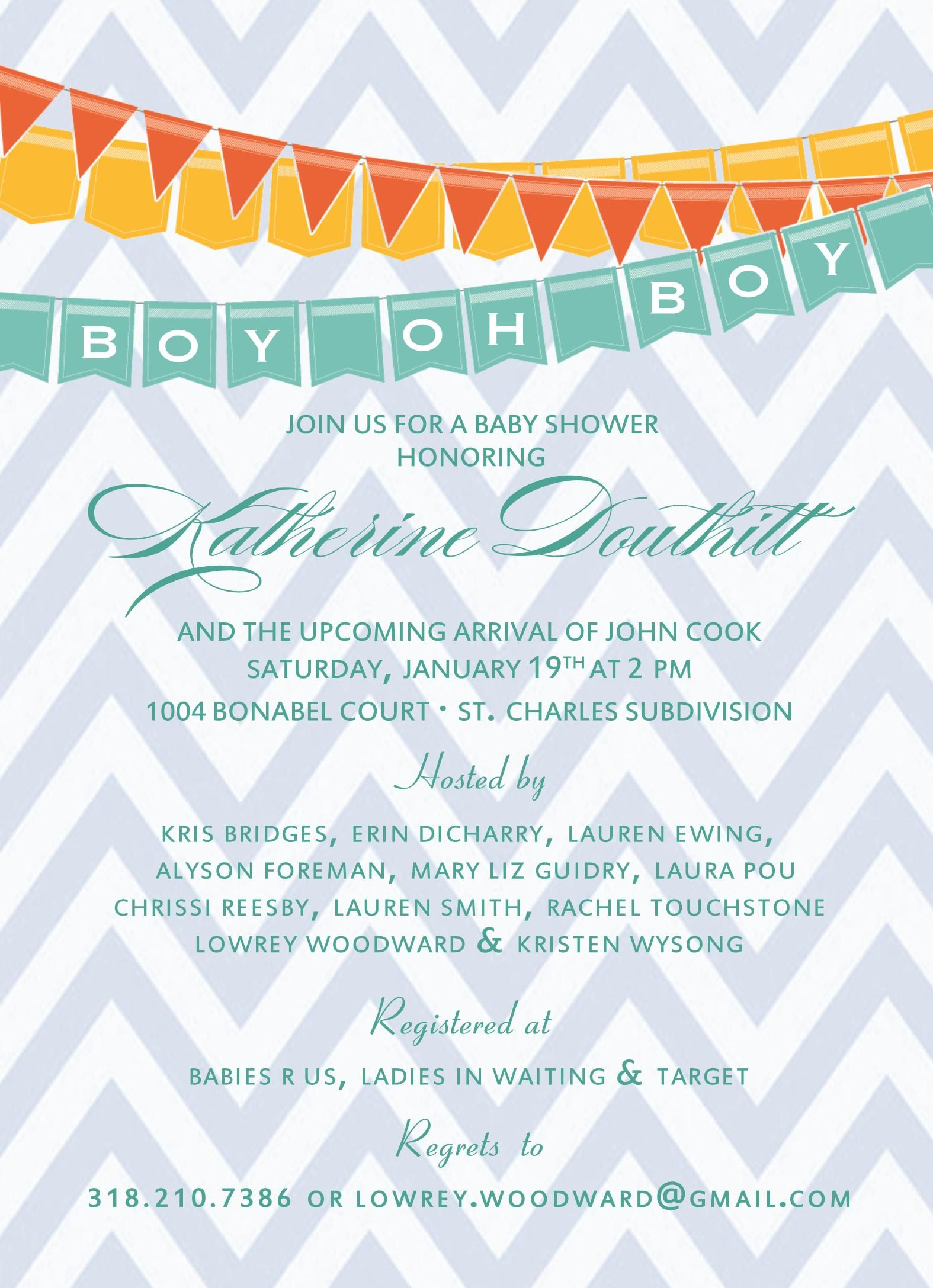Gray Chevron Baby Shower Invitation By Mint Julep Paperie