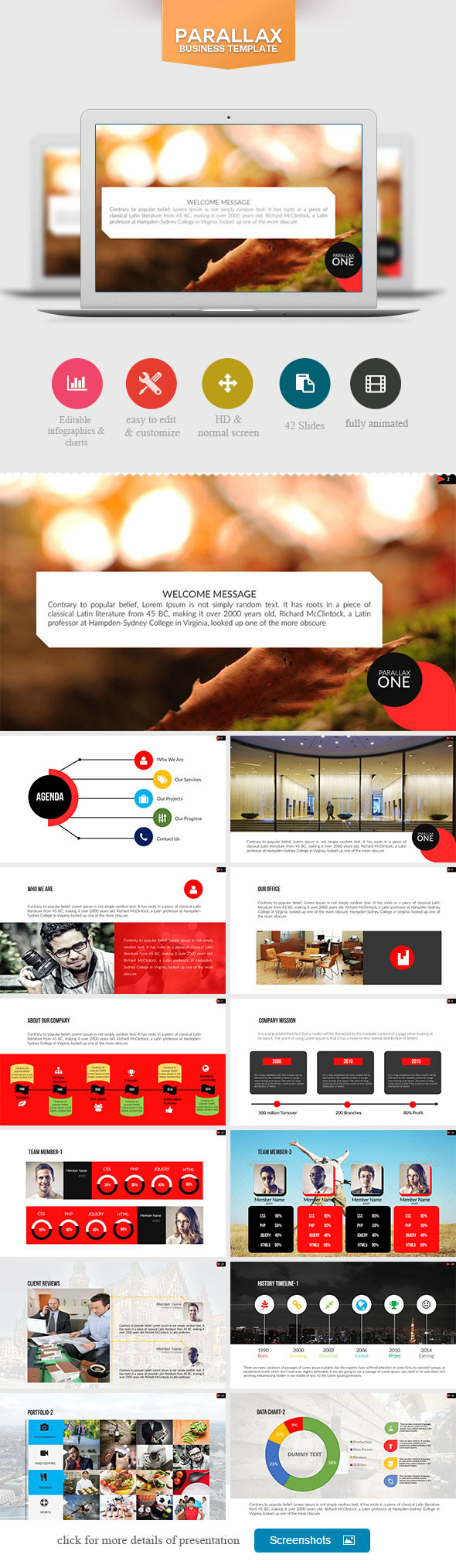 Parallax One Point Presentation Templates Paralax Preview