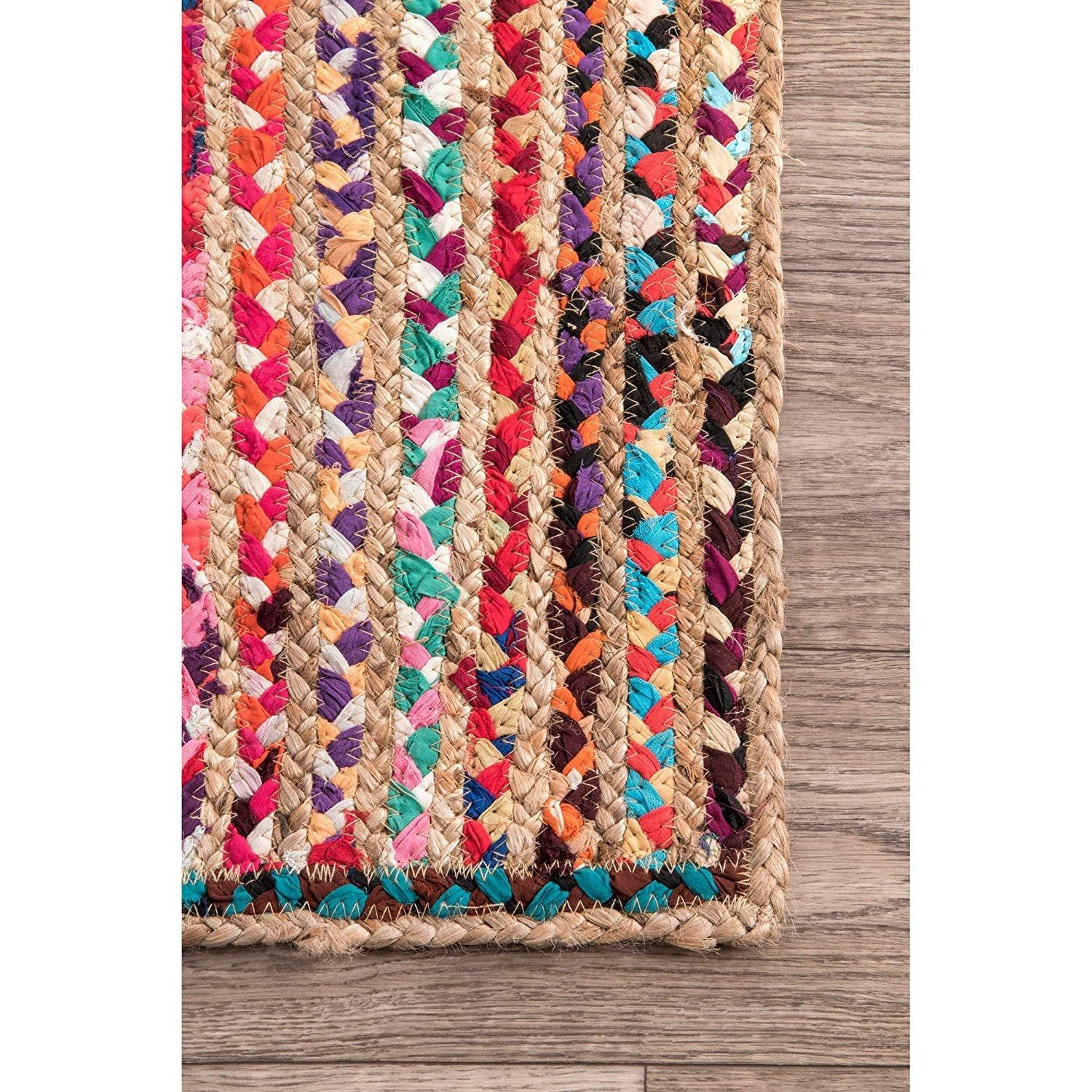 Hand Braided Bohemian Multi Color Cotton and Jute Area Rug Home