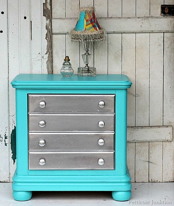 Silver Spray Paint And Turquoise Are The Perfect Pair Bedroom Dressersteal Furniturepaint