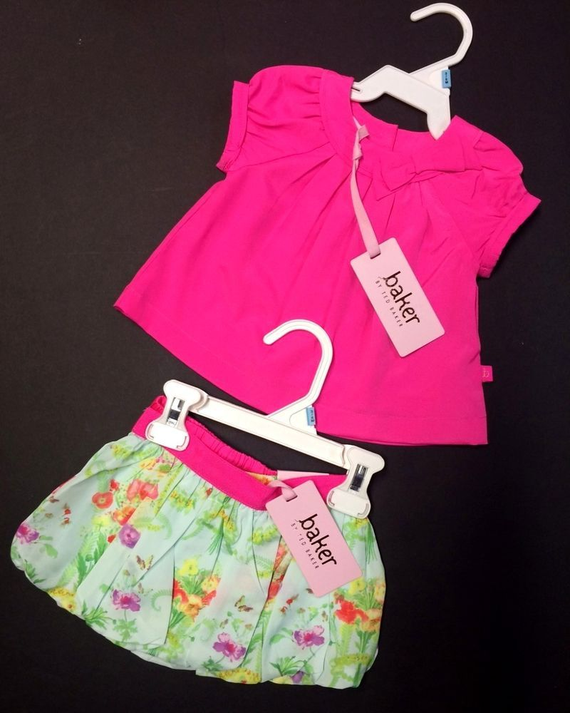 423013bc5 Beautiful Baby Girl 3-Piece Floral Skirt Pink Top by Ted Baker NWT ...
