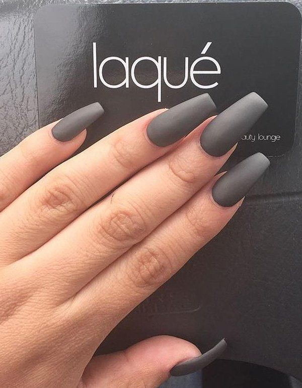 60 Dark Nails For Winter Acrylic Nails Coffin Grey Grey Matte Nails Coffin Nails Matte