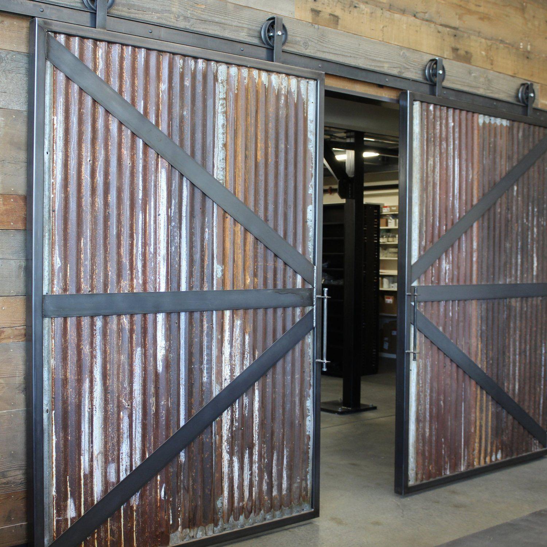 Sheppard S Reclaimed Corrugated Metal Barn Door Track