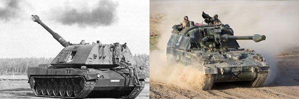 (좌)SP 70 자주포의 차체는 레오파르트 전차의 차체를 기본 모델로 개발되었으며 포탄을 자동으로 장전하는 자동장전장치가 채택하였다.<사진 출처 : 독일 연방군><br> (우)SP 70 자주포 개발 계획이 좌초되자, 독일은 PzH 2000 자주포를 개발했다. PzH 2000은 최초로 155mm 55 구경 주포를 채택했다.<사진 출처 : KMW사>