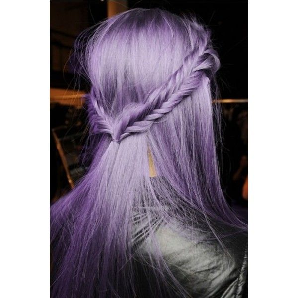 Beautiful halo braids with ponytail and purple hair coulour ❤ liked on Polyvore