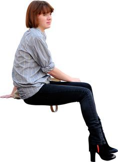 girl sitting down, viewed from side on