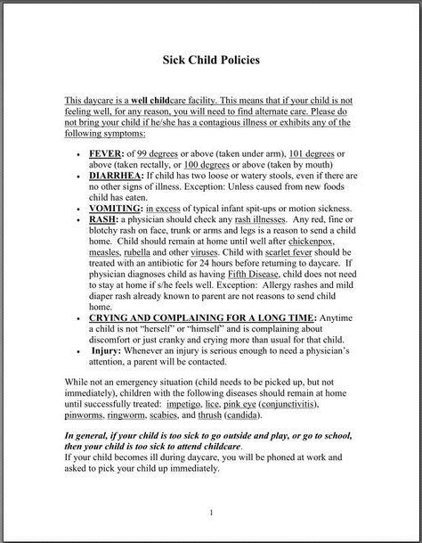 Li\u0027l Angels Home Daycare-Sick Child Policy daycare form