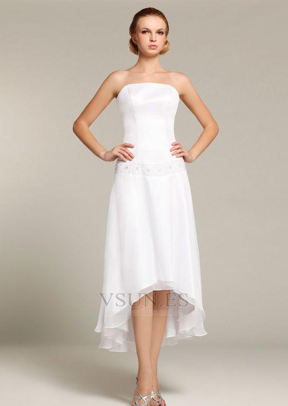 Vestido+de+novia+Alto+Bajo+Asimétrico+Dobladillo+Verano+Sin+mangas+ ...