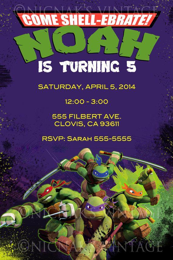 Teenage Mutant Ninja Turtles Invitation By NicNaksVINTAGE On Etsy