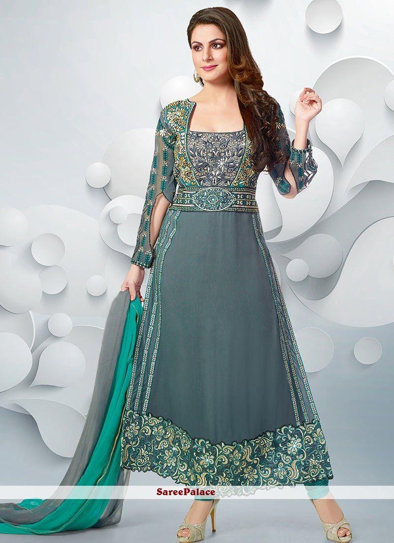 527637c8c4 Shraddha Arya Style Grey Georgette Anarkali Suit | Churidar Salwar ...