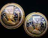 Egyptian Revival Damascene Style Art Deco Earrings Trendy Retro Fashion Jewelry