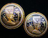 Egyptian Revival Damascene Style Art Deco Earrings Trendy Retro Fashion Jewelry