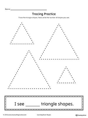 geometric shape counting and tracing triangle printable worksheets worksheets and triangles. Black Bedroom Furniture Sets. Home Design Ideas