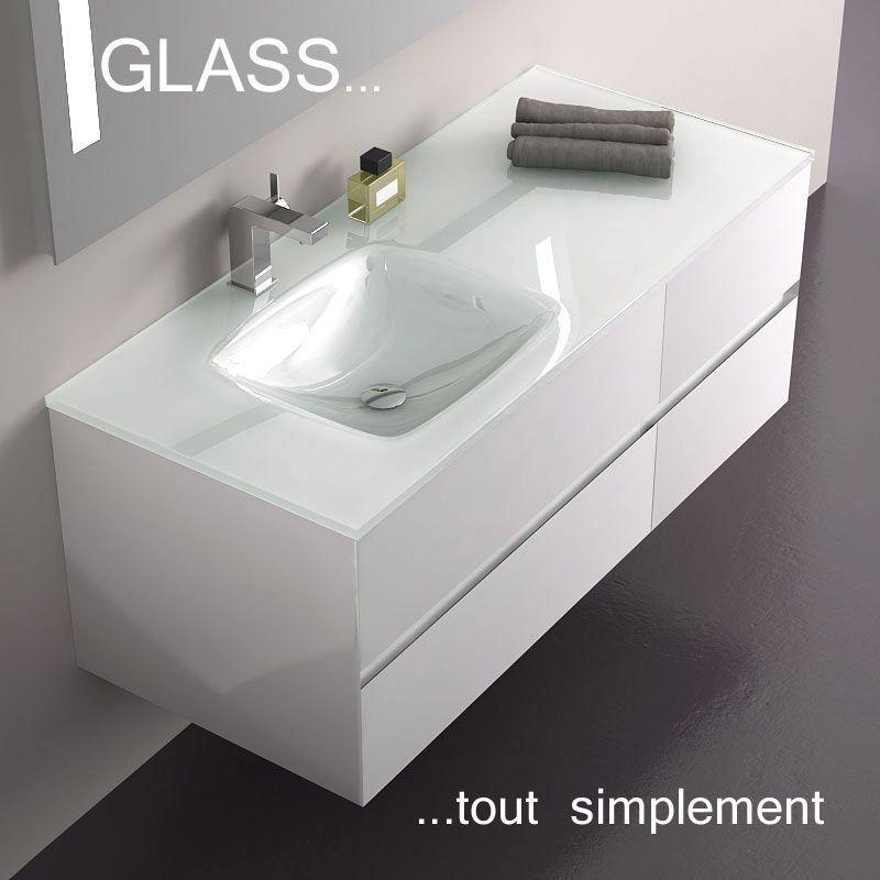 Meuble Salle De Bain Blanc 120 Cm 4 Tiroirs Plan Verre Glass