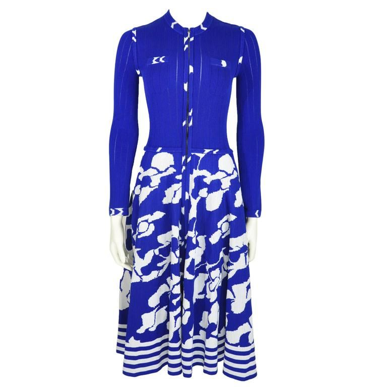 Chanel 2016 Airport Runway Collection Blue & White Print Knit Dress