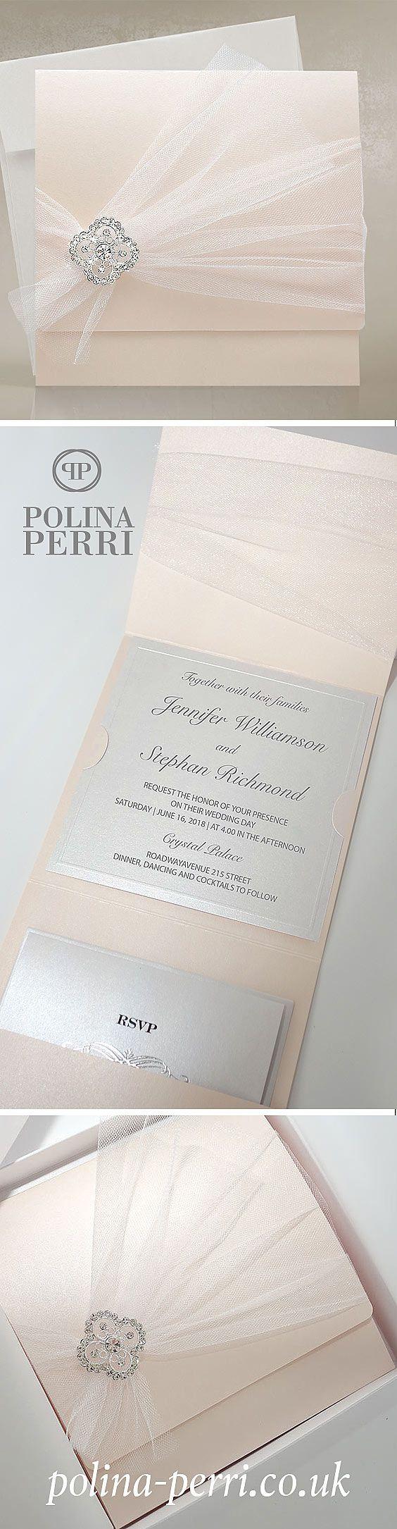 Beautiful blush pink invitations from Polina Perri - luxury ...