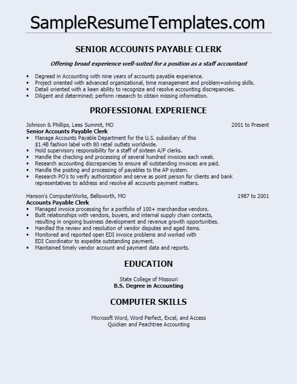 Senior Accounts Payable Clerk Resume Blue Digital Paper