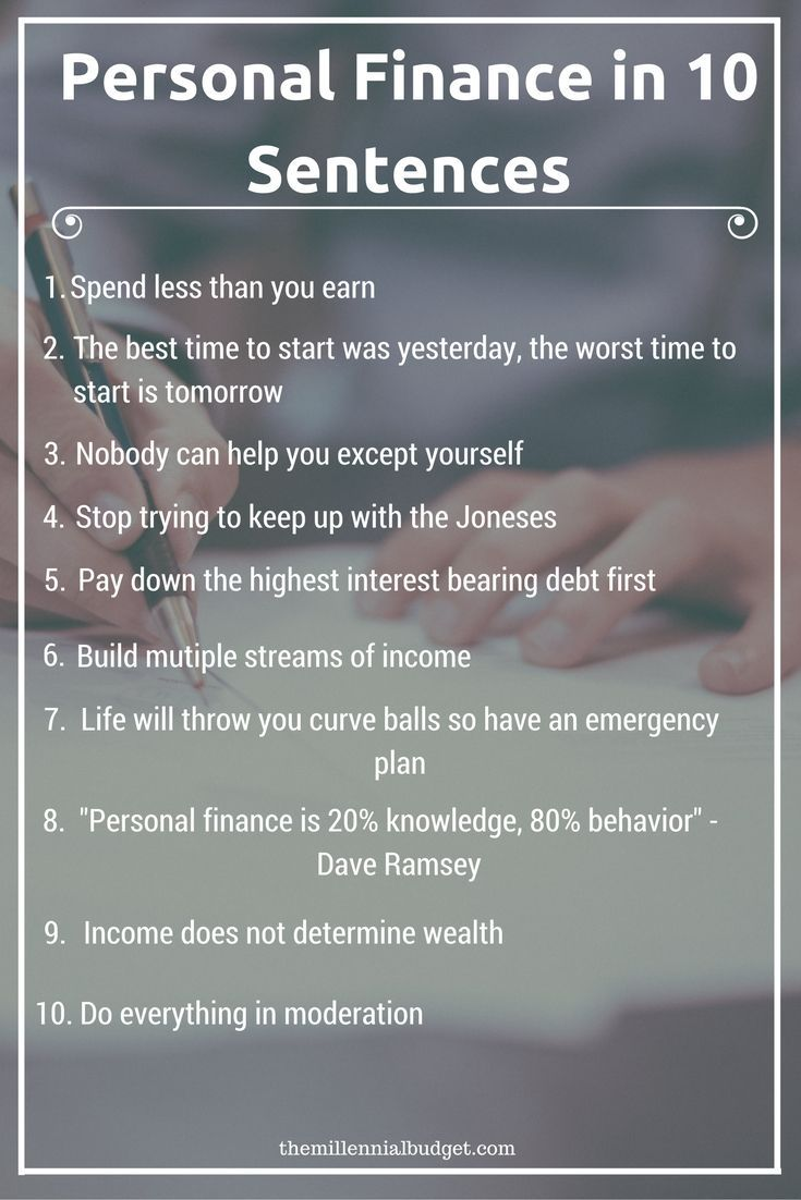 Personal Finance In 10 Sentences Personal Finance And