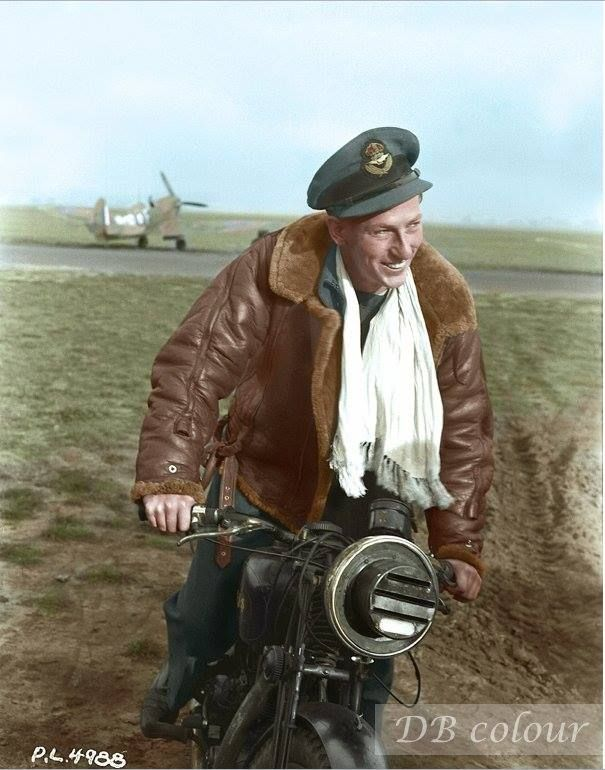 """Pilot Officer Robert Wendell """"Buck"""" McNair, 411 Squadron RCAF on an AJS 500cc at RAF Digby, Lincolnshire, UK September 11, 1941"""