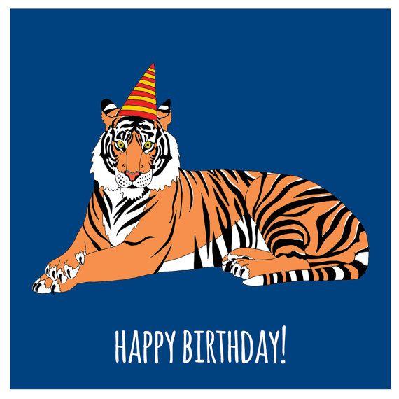 Открытка с тигром на день рождения