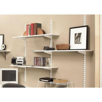 Rubbermaid 70 In White Twin Track Upright For Wood Or Wire Shelving Fg4b8900wht The Home Depot Track Shelving Wall Mounted Shelves Shelves
