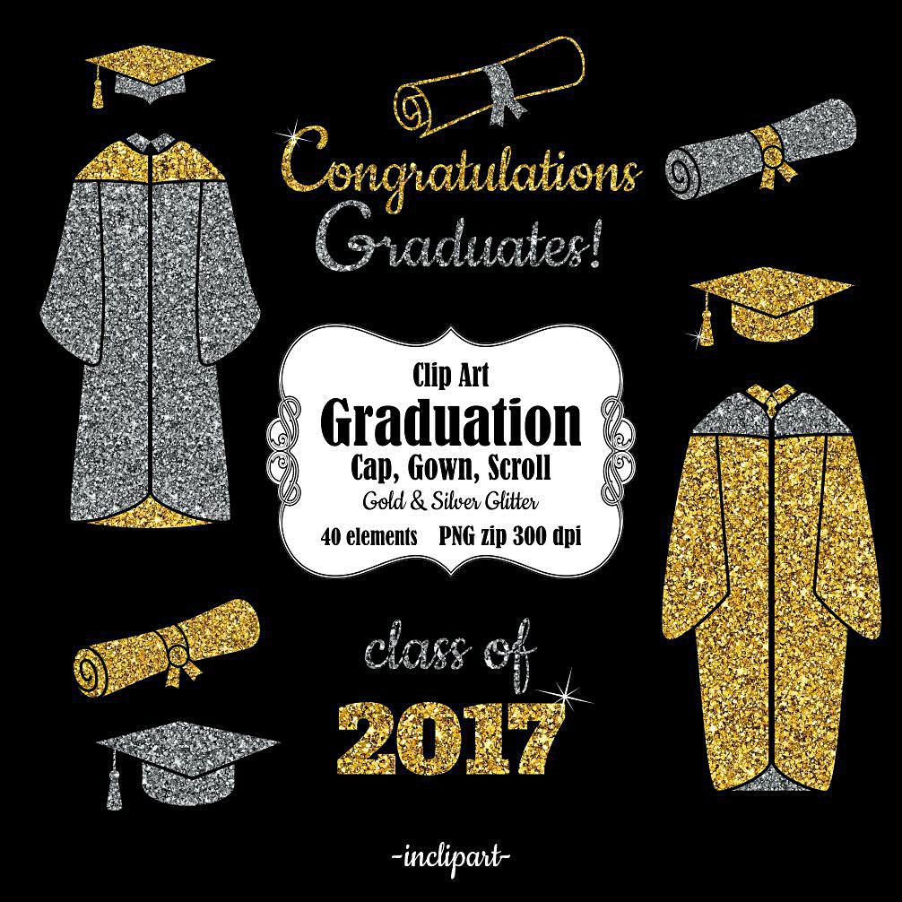 Graduation Clip Art Cap Gown Scroll Year Clipart Congratulations