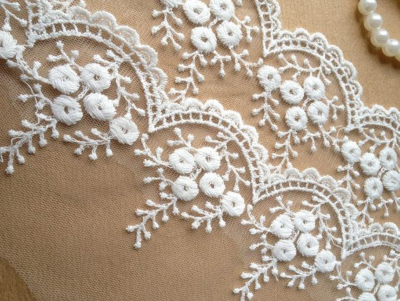 Photo of White Embroidered Tulle Lace Trim for Bridal Accessories Alt…