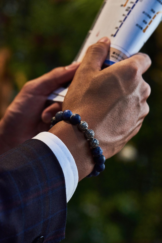 a7b31a03cbce1 Silver Classic Matt Sodalite in 2019 | Men's Beaded Bracelets | Mens ...