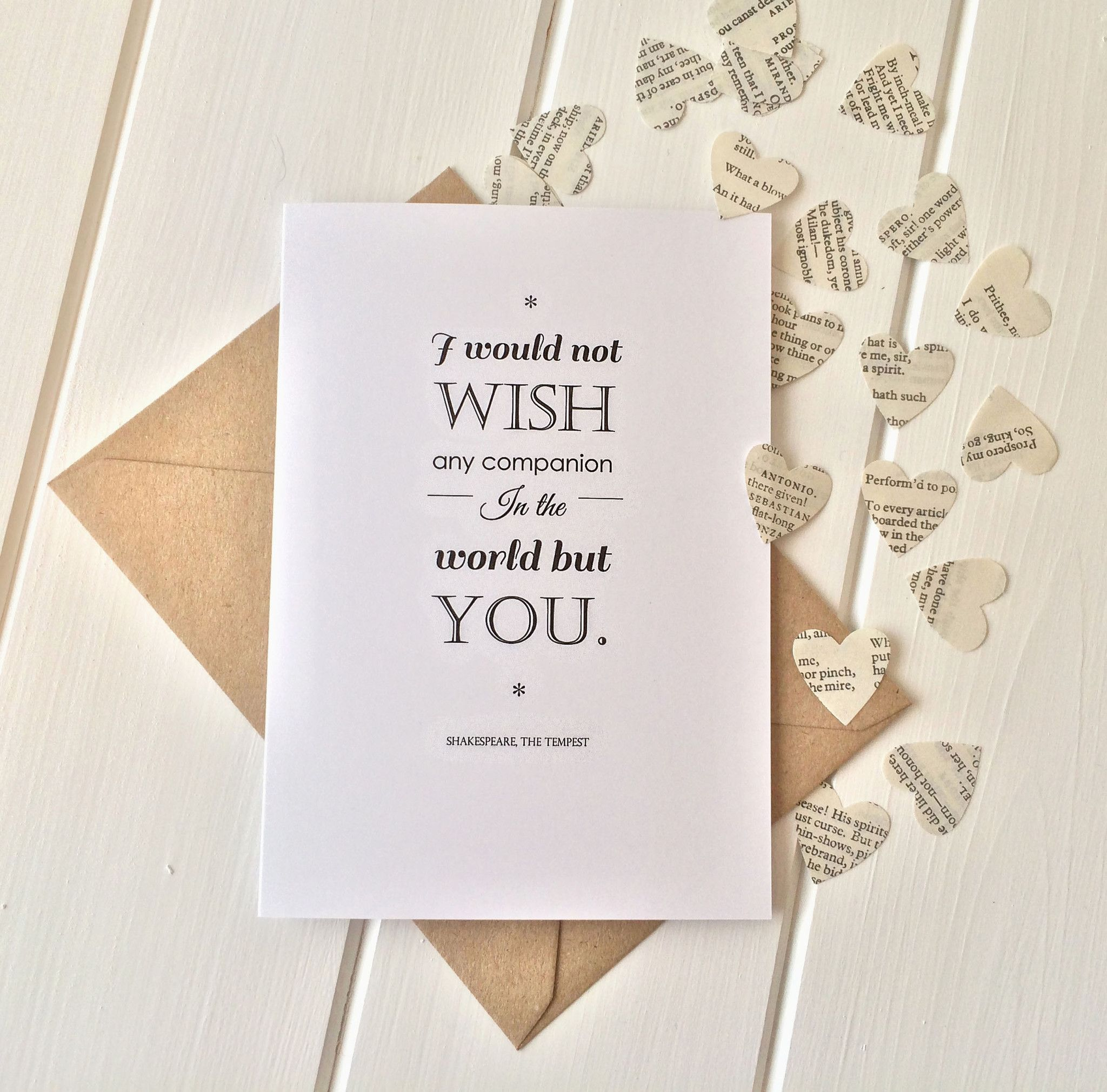 Shakespeare Valentines Card Heart Confetti Wedding