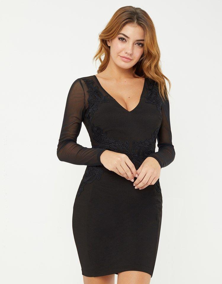 0d0e48ecf623 Lipsy Lace Trim Long Sleeve Bodycon Dress   Fashion/Hair/Beauty ...
