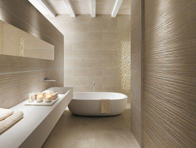 carrelage-salle-bain-couleur-sable-mosaique-or carrelage de salle de ...