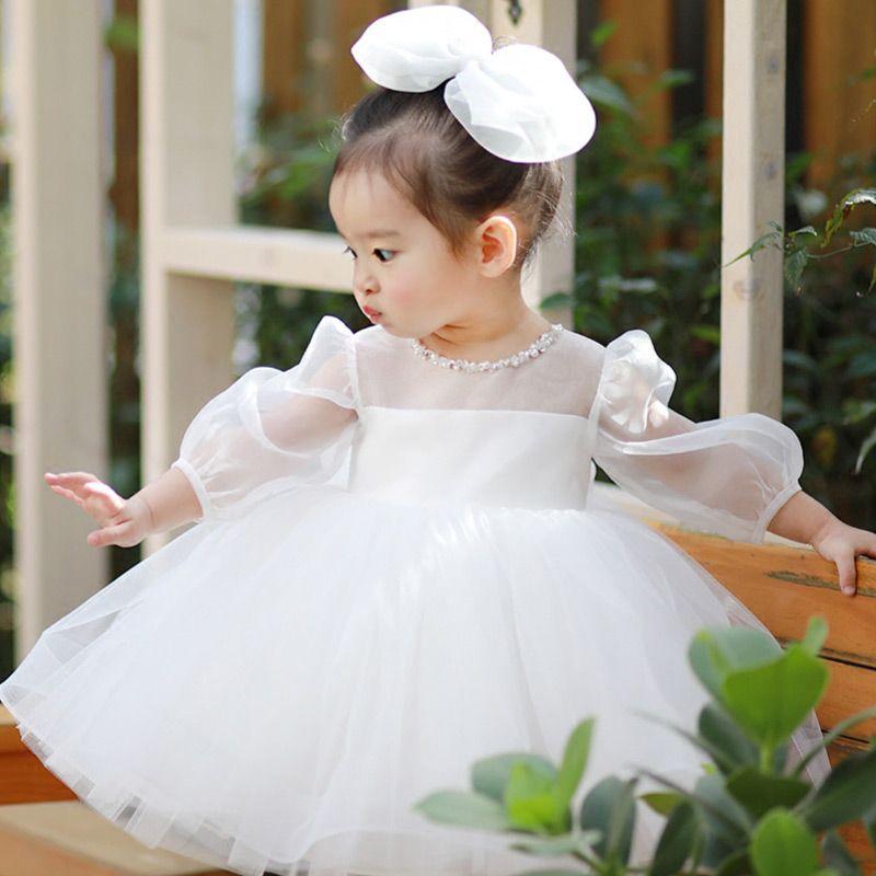 c82ed709eab Super Cute White Tutu Flower Girl Dress With Bubble Sleeves  TG7047 ...