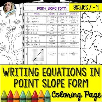 Writing Equations In Point Slope Form Coloring Worksheet Coloring