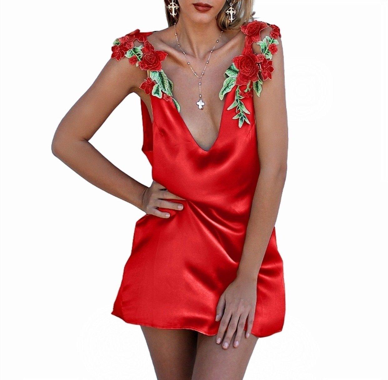 Summer Y V Neck Sleeveless Embroidered Slip Dress Backless Fashion Slim Off The
