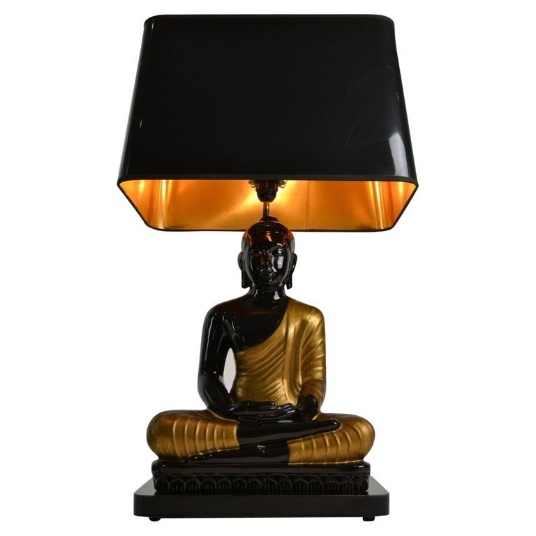 Large Buddha Table Lamp Black And Gold Europe 1970s Table