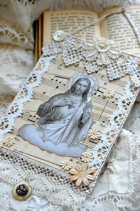 Religious collage wall hanging, handcrafted on small canvas board with vintage lace, flowers, buttons, and medal #collagewalls