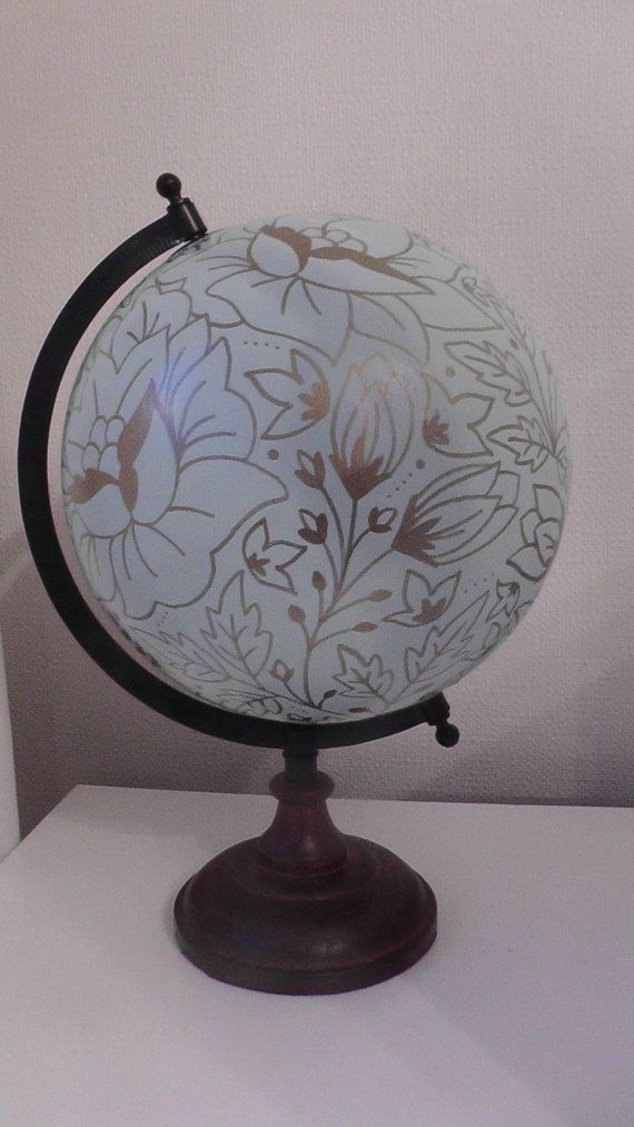 Hand Painted Globe. Unique design, home, wedding or travel gift
