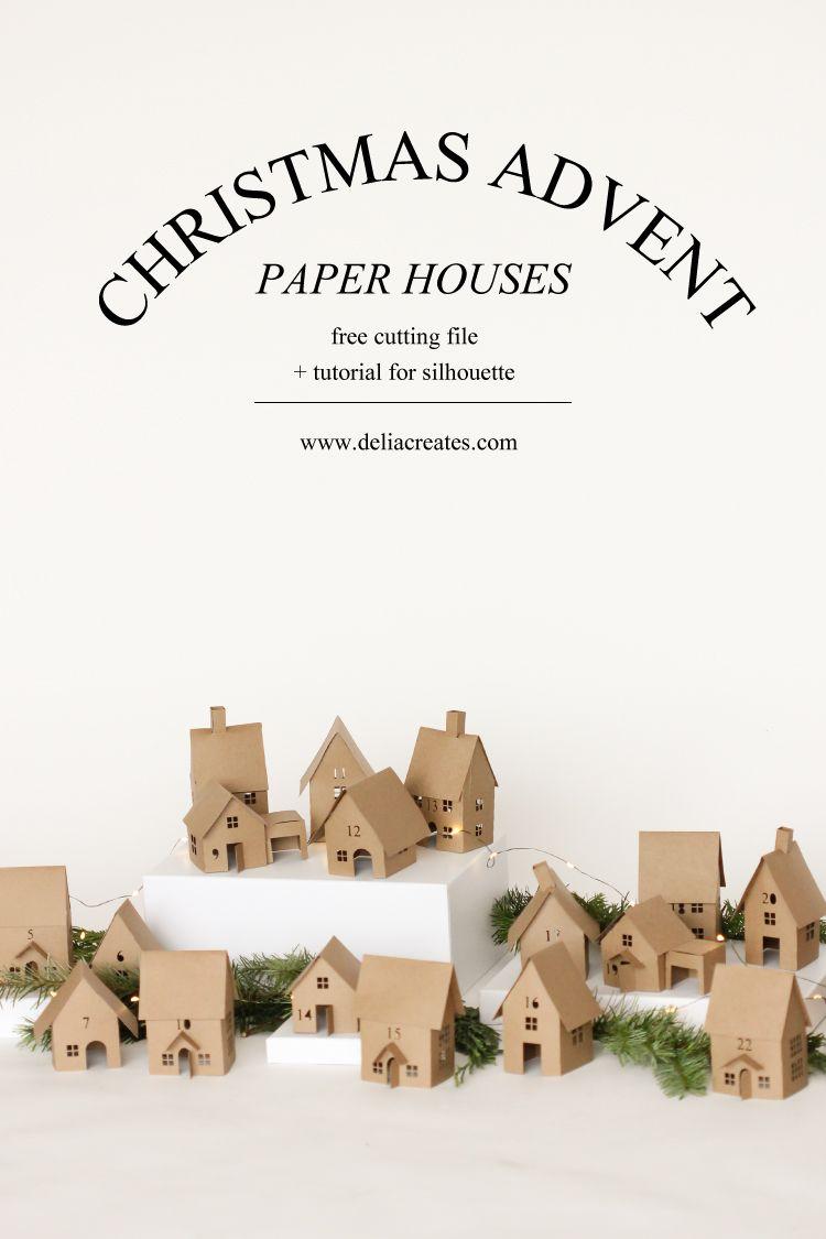Christmas Advent Paper Houses Silhouette Cameo Giveaway Christmas Advent Christmas Paper Christmas Diy