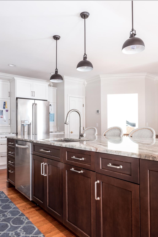 White Kitchen Cabinets, Dark wood Island, Mosaic backsplash,Wine ...