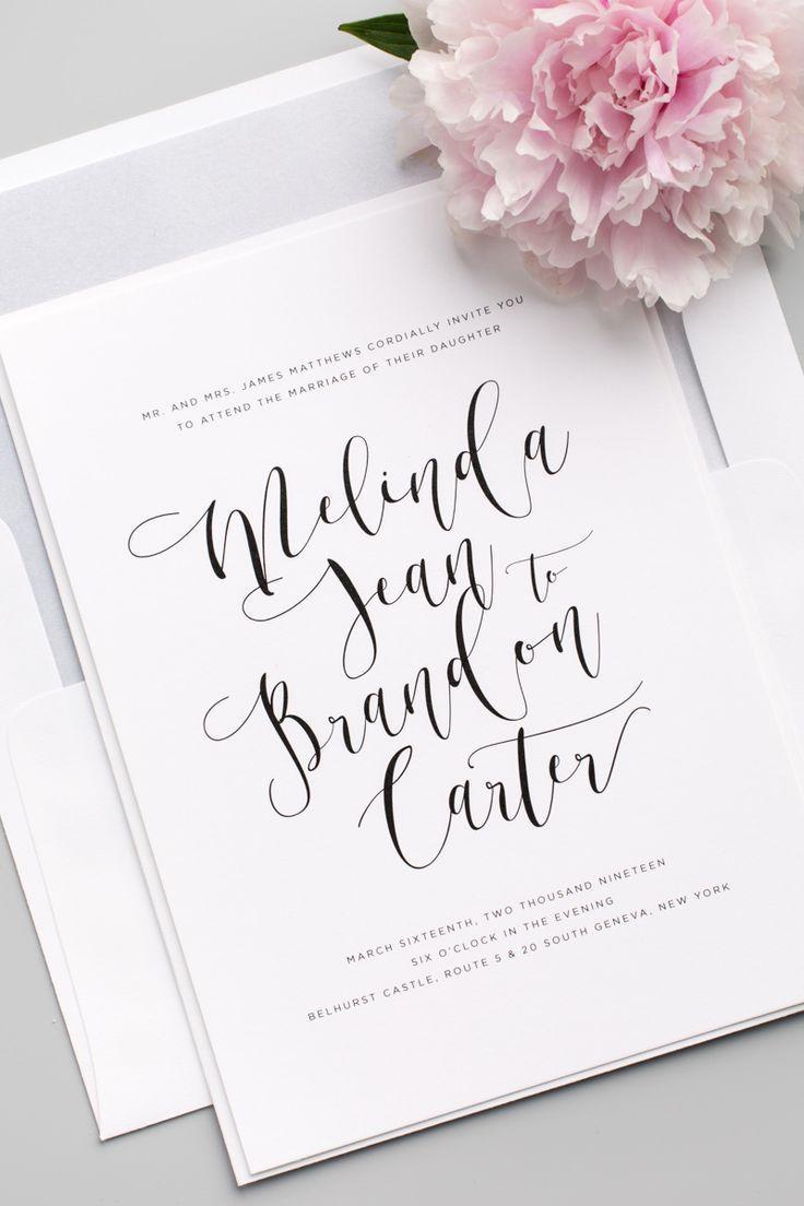 Flowing Calligraphy Wedding Invitations | Pinterest | Modern ...