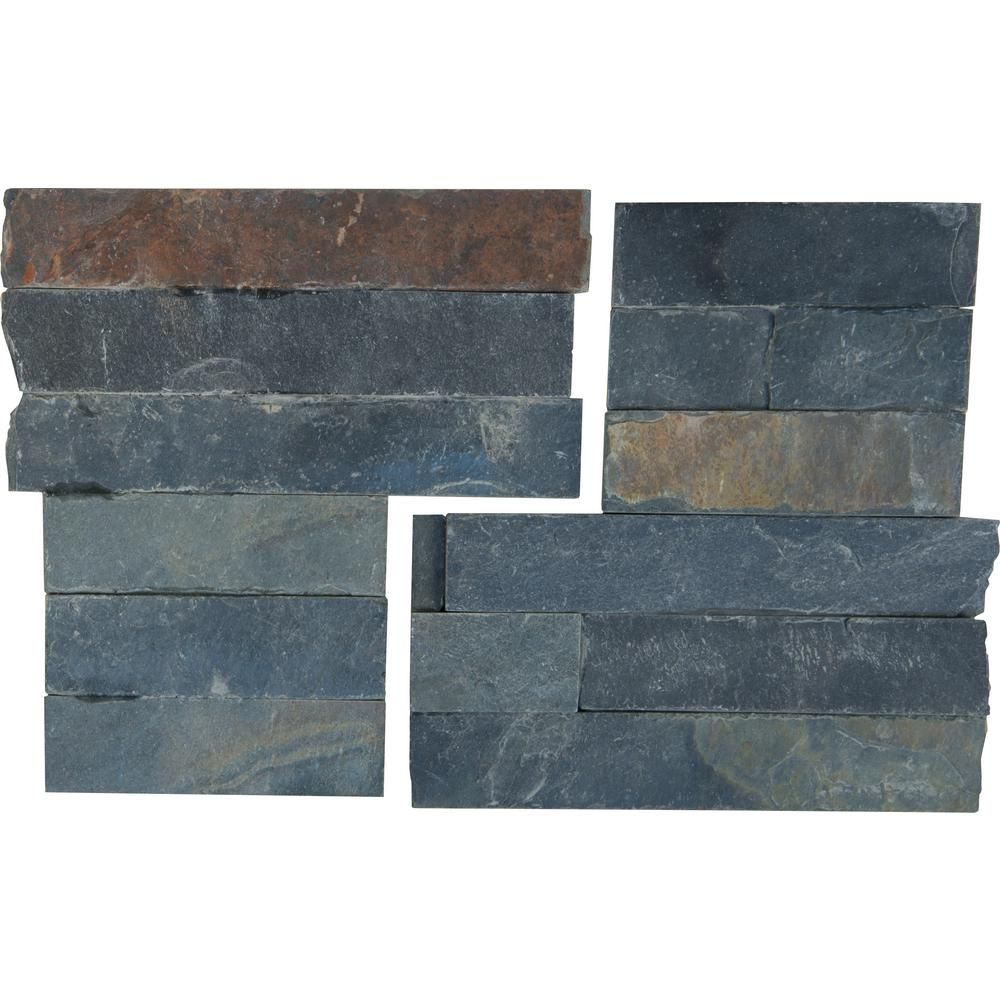 Msi Salvador Multi Ledger Corner 6 In X 6 In Natural Slate Wall Tile 6 Sq Ft Case Slate Wall Tiles Wall Tiles Stacked Stone Panels