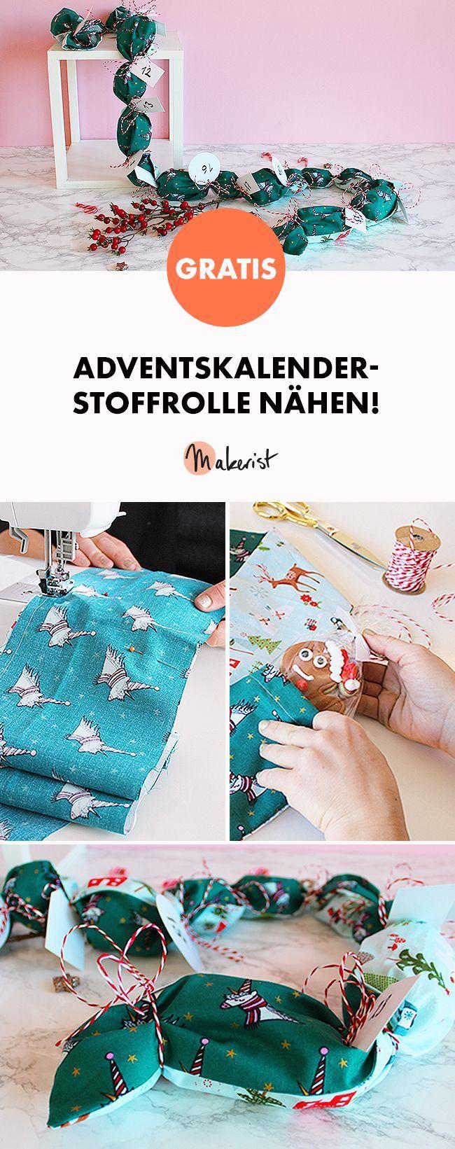 Adventskaender-Stoffrolle nähen - kostenlose Nähanleitung via Makerist.de
