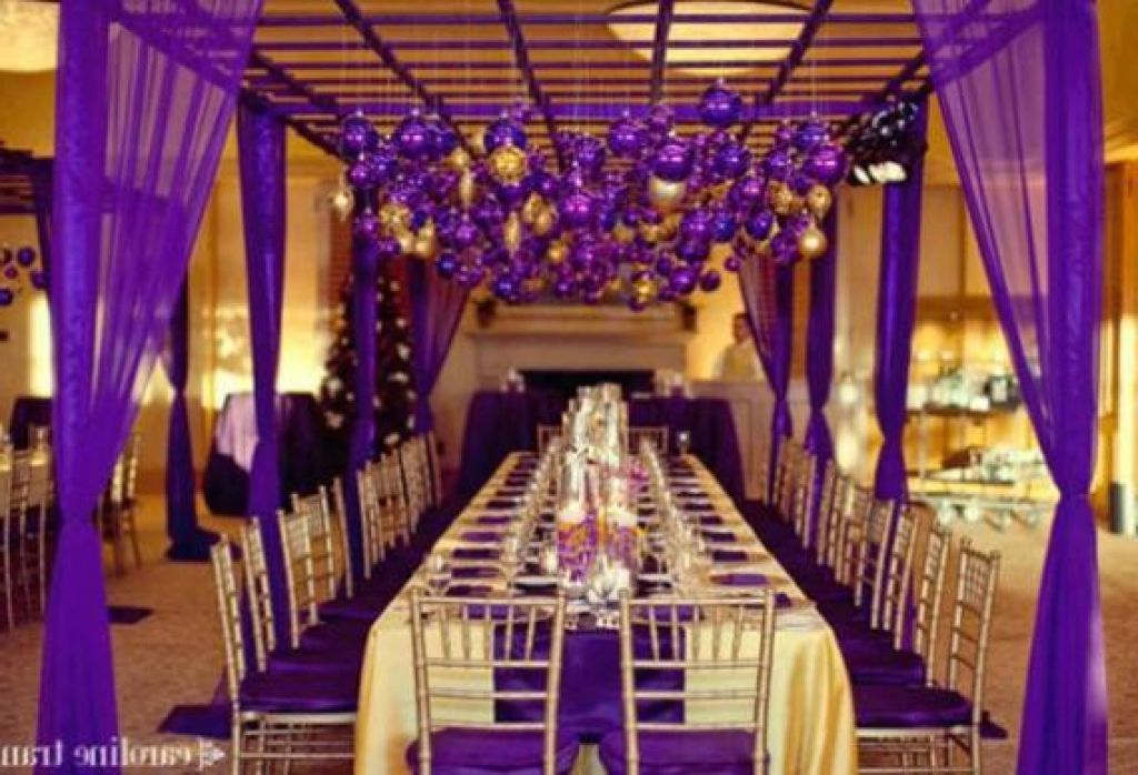 Gold Wedding Theme Reception Decorations Indian Purple And Green