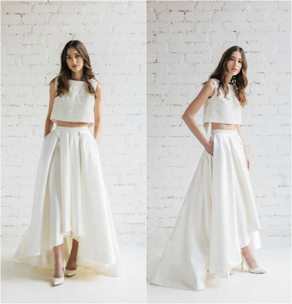 Two Piece Wedding Dress Lily High Low Wedding Skirt With Pockets Bridal Crop Top With Open Back Modern Wedding Dress In 2020 Wedding Dress With Pockets Trendy