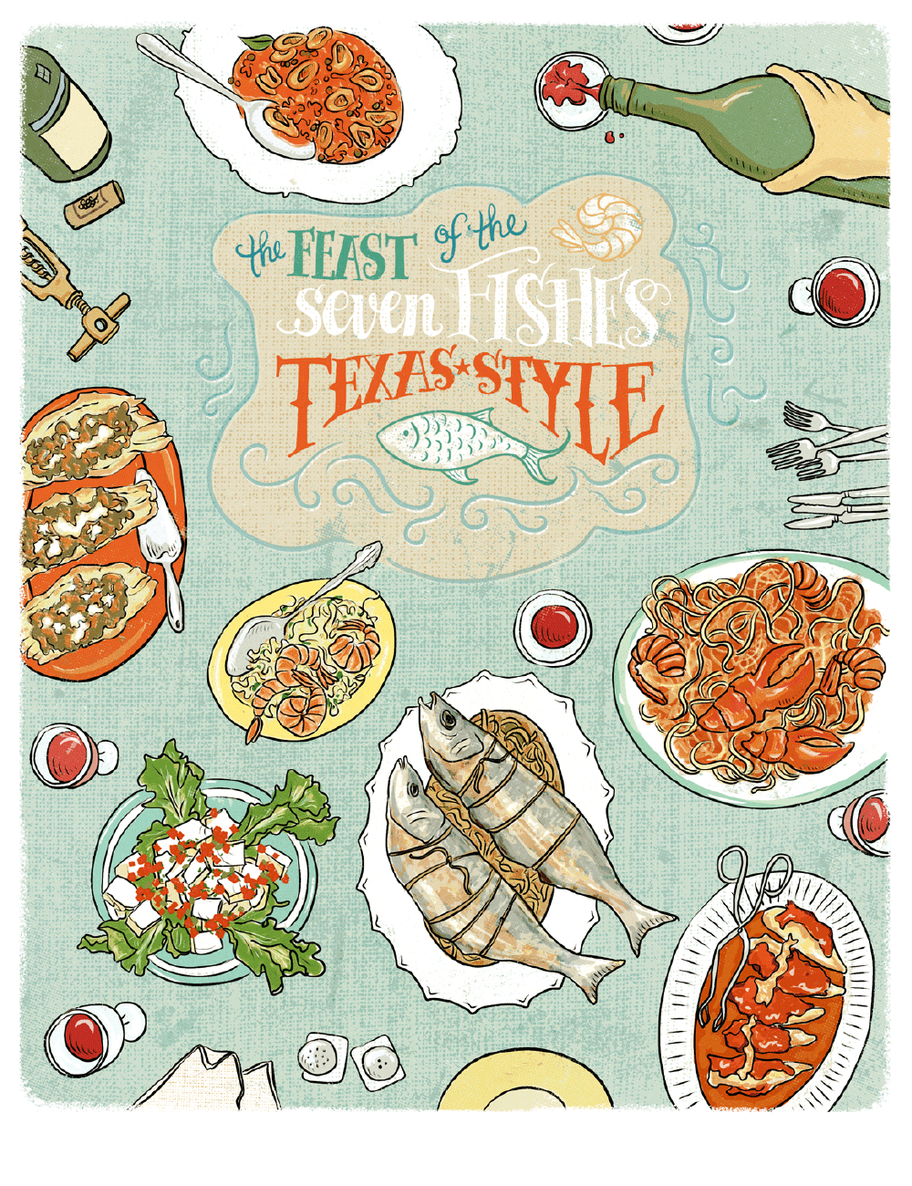 The feast of seven fishes bambi edlund illustrationbambi for Italian seven fishes
