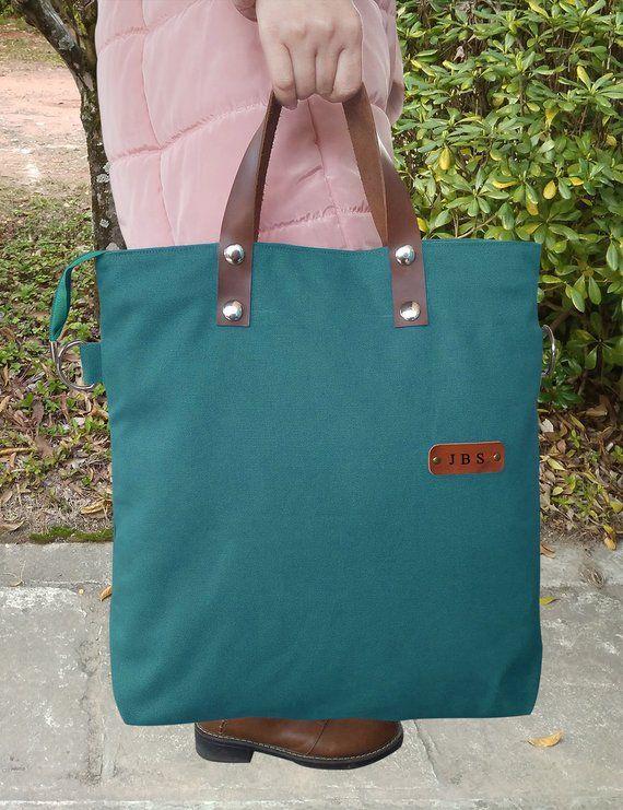 15800b44c Custom Tote Bag, Teal Green Bag, Crossbody Tote Bag, Initial Canvas Tote,  Laptop Work Bag, Leather C