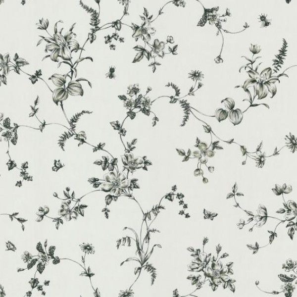 Vivace Black Floral Trail | Wallpaper Warehouse