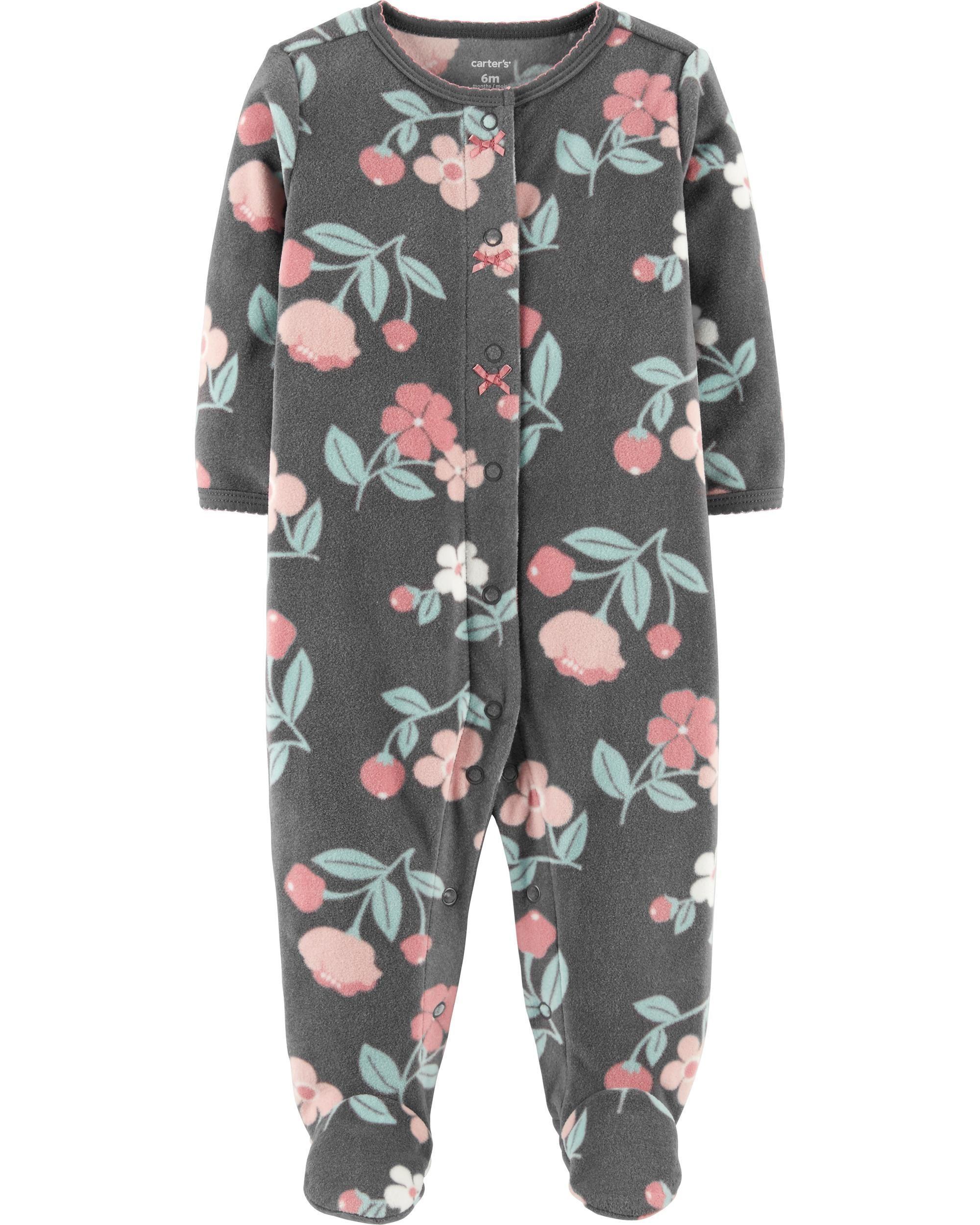 5af2ce3d5aa3 Baby Girl Floral Snap-Up Fleece Sleep   Play
