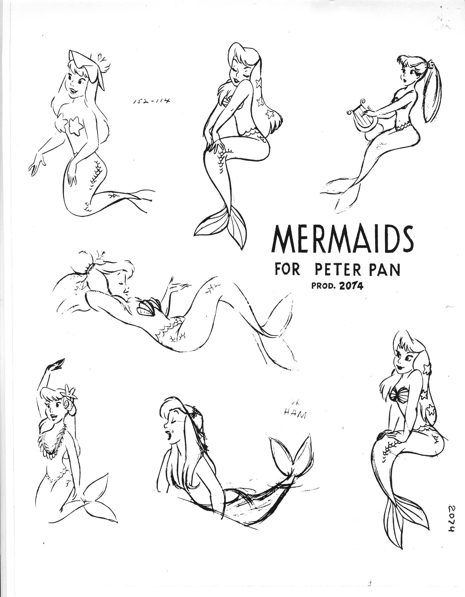 mermaids model sheet from walt disneys peter pan released in