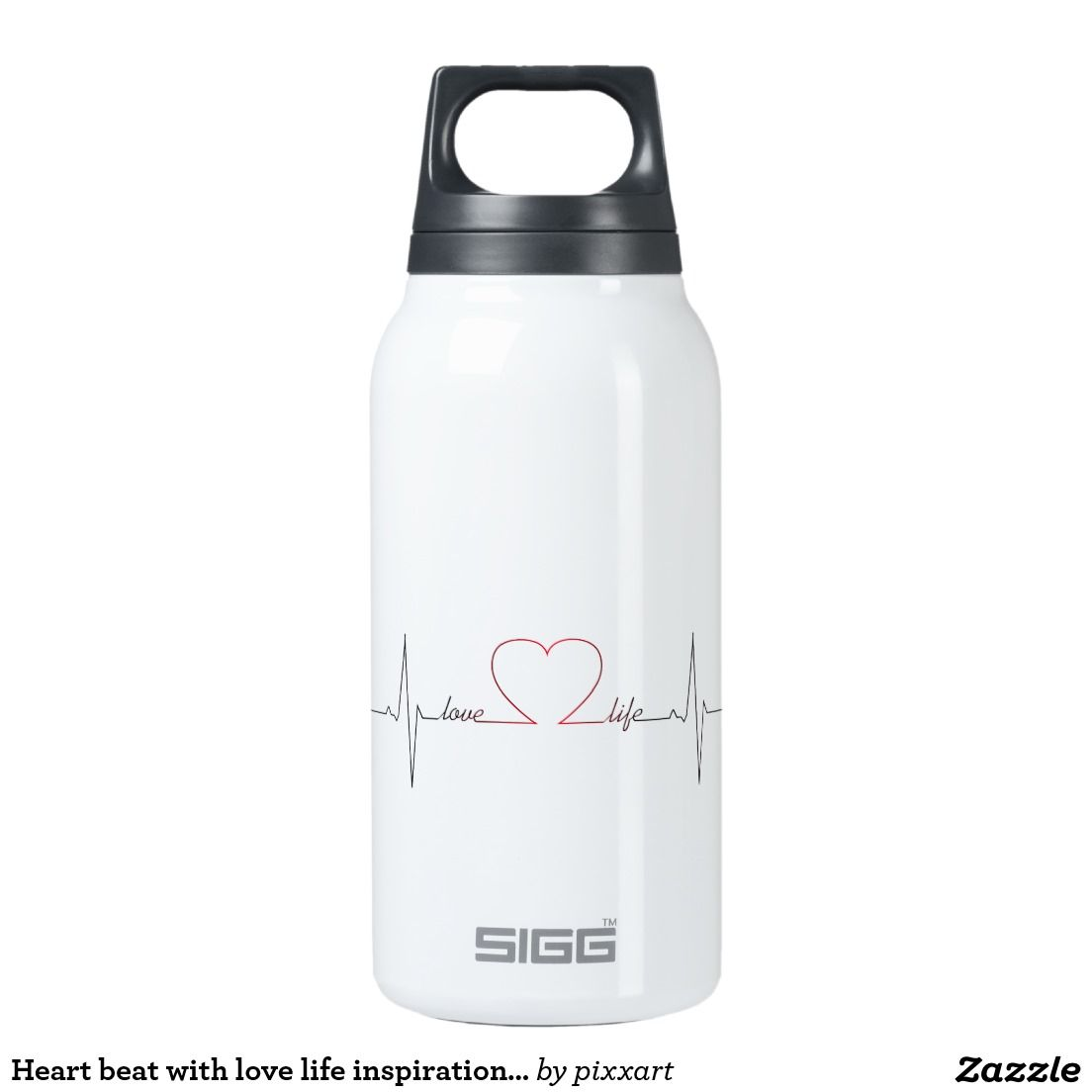 Heart beat with love life inspirational quote insulated water bottle